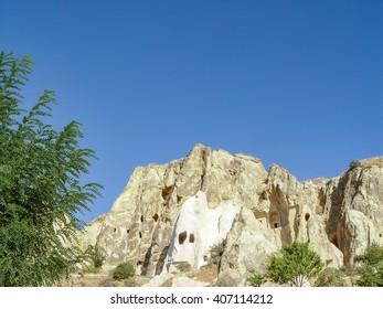 Volcanic cliffs and rock formations at Cappadocia, Anatolia, Turkey