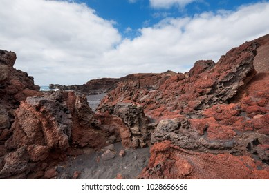 Volcanic coastline landscape in Lanzarote, Canary islands, Spain.