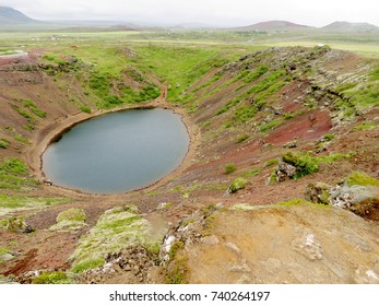 Volcanic crater Kerid in South Iceland, July 5, 2017