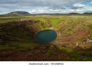 Volcanic Crater Lake Kerid in the Grímsnes area in south Iceland