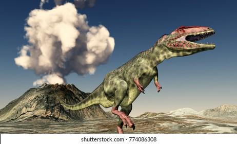 Volcanic eruption and the dinosaur Giganotosaurus Computer generated 3D illustration