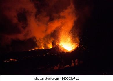 Volcanic eruption of Eyjafjallajökull at night.