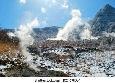 Volcanic fumarole in Owakudani, Kanagawa prefecture, Japan