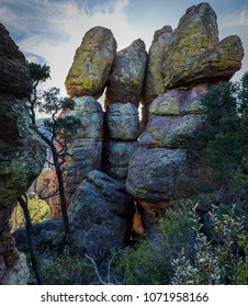 Volcanic hoodoos or rock pillar formations at Chiricahua National Monument near Wilcox Arizona.