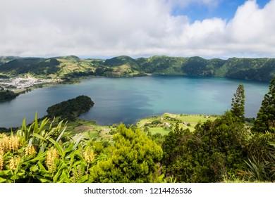 """Volcanic lake on Sao Miguel """"Sete Cidades"""""""