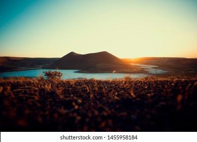 Volcanic lake. sunset at the volcanic meke lake in konya.