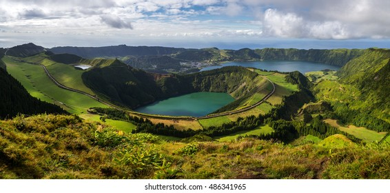 Volcanic Lakes from Sete Cidades in Sao Miguel, Azores, Portugal