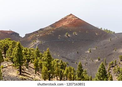 Volcanic landscape along   Ruta de los Volcanes, beautiful hiking path over the volcanoes, La Palma, Canary Islands
