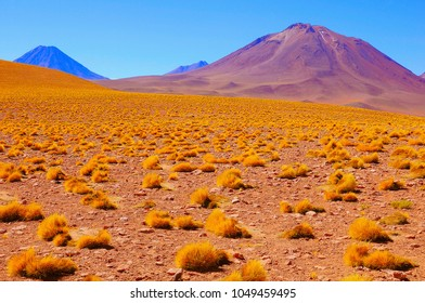 Volcanic landscape at day time. Atacama Desert. Chile.