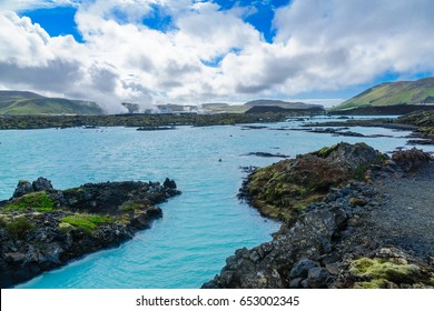 Volcanic landscape and hot pools near the Blue Lagoon, in a lava field in Grindavik on the Reykjanes Peninsula, southwestern Iceland