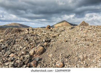 volcanic landscape with  lava field and volcanoes, Lanzarote, canary islands, Spain, Europe,