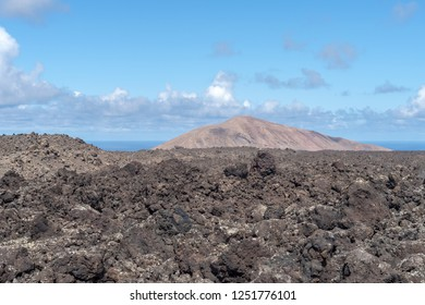 Volcanic landscape with lava rock formation, Lanzarote Island, Canary Islands, Spain