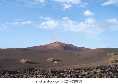 Volcanic landscape, Montanas del Fuego, Timanfaya National Park, Lanzarote, Canary Islands, Spain