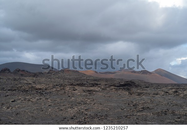 Volcanic Landscape Montanas Del Fuego Timanfaya Stock Photo Edit Now 1235210257