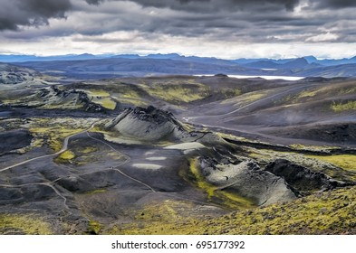 Volcanic landscape with mountains and volcano craters, Lakagigar, Iceland