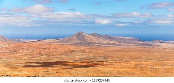 Volcanic Landscape Panorama in Fuerteventura, Canary