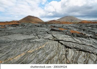 Volcanic landscape of Santiago island, Galapagos, Ecuador