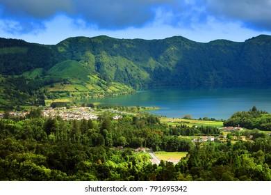 Volcanic landscape of Sete Cidades in Sao Miguel island, Azores Archipelago, Poprtugal, Europe