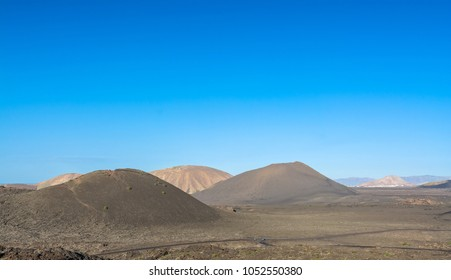 volcanic landscape in Timanfaya National Park. Lanzarote, Canary Islands. Spain