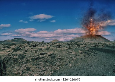 volcanic landscape with a volcano eruption, Lanzarote, canary islands, Spain, Europe