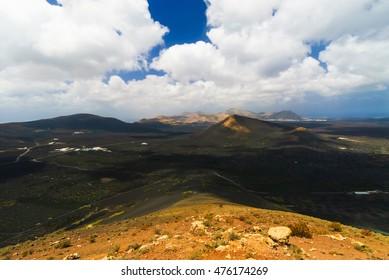 Volcanic Lanzarote landscape.  Lanzarote. Canary Islands. Spain