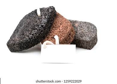 Volcanic lava foot pumices on the white background