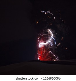 Volcanic lightning. Time-exposure image of lightning in and around a large ash column produced during the 2010 Eyjafjallajokull volcanic eruptions.