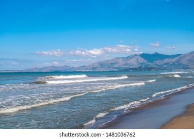 Volcanic mediterranean beach in Italy