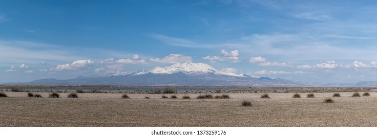 Volcanic mountain Erciyes and Kayseri farmland panaromic - Kayseri Turkey