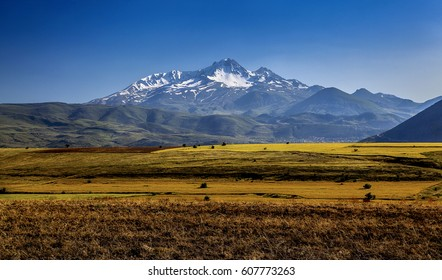 Volcanic mountain Erciyes and Kayseri farmland - Kayseri Turkey