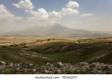 Volcanic mountain Erciyes and Kayseri farmland - the green state of the wheat field