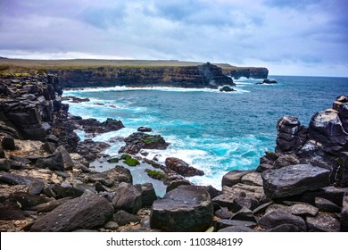 Volcanic rock along the coastline of Suarez Point, Espanola, in the Galapagos Islands