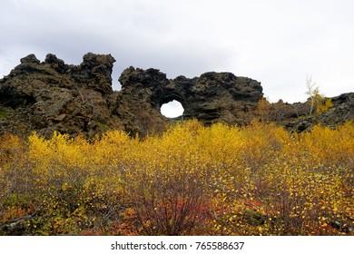 Volcanic rock formations at Dimmuborgir near Lake Myvatn