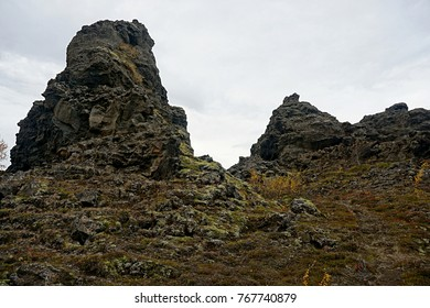 Volcanic rock formations at Dimmuborgir near Lake Myvatn