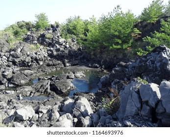 Volcanic rocks on Sakurajima, Japan
