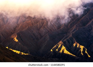 Volcanic soil slope of Bromo mountain at Bromo tengger semeru national park indonesia. Slopes of Mount Batok and Bromo in early morning with light surface