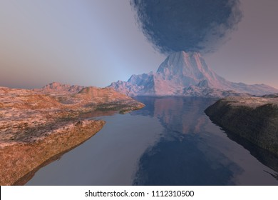 Volcano, 3d rendering, a rocky landscape, reflections on water and black smoke in the sky.