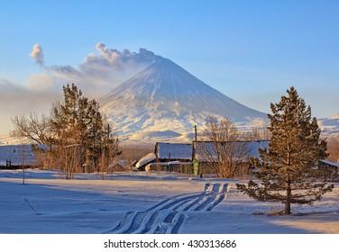 Volcano ashes. Kamchatka Peninsula. Russia.  Village Klyuchi. The volcano of Klyuchevskaya sopka. (4800 m) is the highest active volcano of Eurasia.