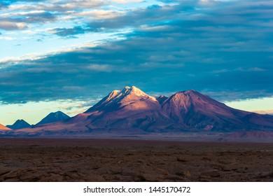 Volcano in the Atacama Desert at sunset, San Pedro de Atacama, Atacama desert, Chile, South America