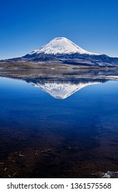 Volcano with beautiful reflection in the Chilean Andes