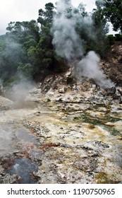 Volcano Caldera Hot Springs Fumarole Sulphur in Furnas, Sao Miguel, Azores, Portugal