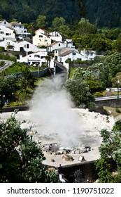 Volcano Caldera Hot Springs Fumarole by Village in Furnas, Sao Miguel, Azores, Portugal