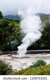 Volcano Caldera Hot Springs Fumarole Smoke in Furnas, Sao Miguel, Azores, Portugal