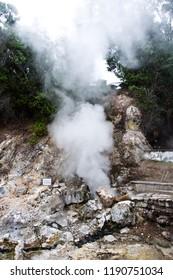Volcano Caldera Hot Springs Fumarole Sulphur Smoke in Furnas, Sao Miguel, Azores, Portugal