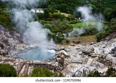 Volcano Caldera Hot Springs Fumaroles in Furnas, Sao Miguel, Azores, Portugal
