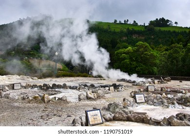 Volcano Caldera Hot Springs Fumaroles Landscape in Furnas, Sao Miguel, Azores, Portugal