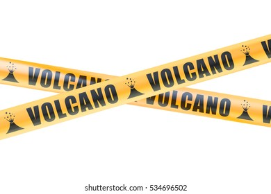 Volcano Caution Barrier Tapes, 3D rendering isolated on white background