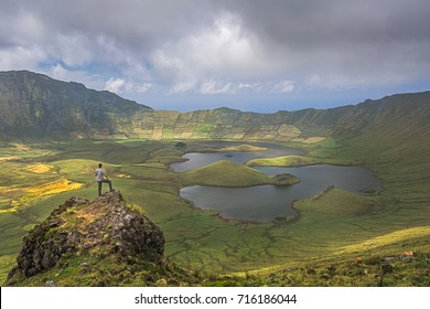 Volcano crater with a lake on the island of Corvo, Azores, Portugal