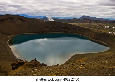 Volcano crater Viti with lake inside at Krafla volcanic area in Iceland, Viti means hell in islandic language