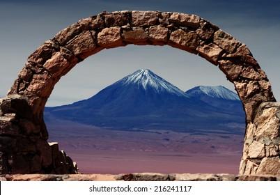 volcano in the desert of Atacama, Chile
